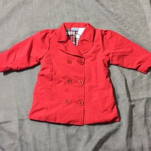 Red Trench Style Jacket Sz 24M